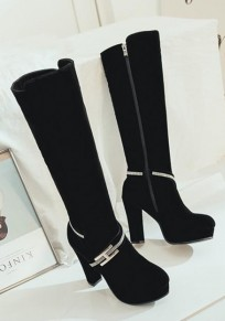 Black Round Toe Chunky Rhinestone Fashion Knee-High Boots