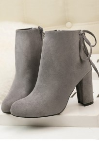 Grey Round Toe Chunky Zipper Casual Ankle Boots