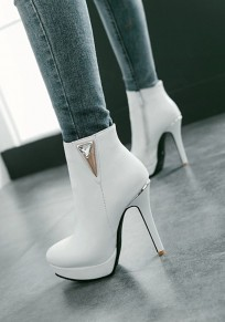 White Point Toe Stiletto Rhinestone Fashion Ankle Boots