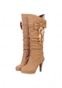 Apricot Runde Zehe Schleife Blätter Stiletto Elegant Mid-Calf Herbst Stiefel Boots Damen Schuhe