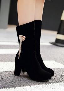 Black Round Toe Chunky Metal Decoration Fashion Mid-Calf Boots