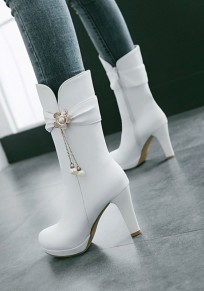 White Round Toe Chunky Rhinestone Flower Fashion Mid-Calf Boots