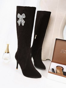 Black Point Toe Stiletto Fashion Knee-High Boots
