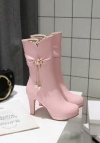 Pink Round Toe Chunky Rhinestone Flower Fashion Mid-Calf Boots