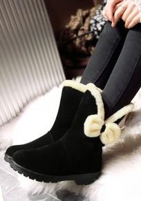 Black Round Toe Chunky Bow Fashion Mid-Calf Boots