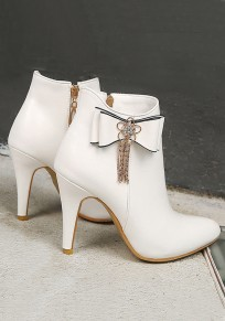 Bottes bout pointu stylet noeud papillon mode strass cheville blanc
