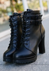 Black Round Toe Chunky Buckle Fashion Ankle Boots