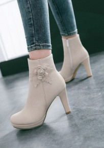 Beige Round Toe Chunky Flower Patchwork Fashion Ankle Boots