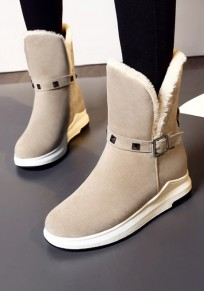 Beige Round Toe Flat Buckle Rivet Casual Ankle Boots