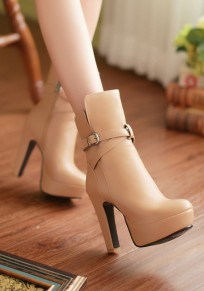 Apricot Round Toe Chunky Buckle Fashion Ankle Boots