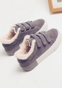 Baskets scratch bout rond plat doublé polaire décontracté femme chaussures gris