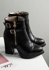 Botines punto punta hebilla moda negro
