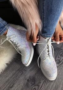 Martin bottes en paillette à lacets bout rond mode cheville chaussures blanc femme