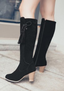 Black Round Toe Chunky Tassel Casual Knee-High Boots