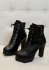 Black Round Toe Chunky Zipper Fashion Ankle Boots