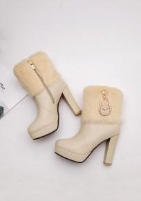 Beige Round Toe Chunky Rhinestone Fashion Ankle Boots
