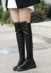 Black Round Toe Chunky Rivet Fashion Over-The-Knee Boots