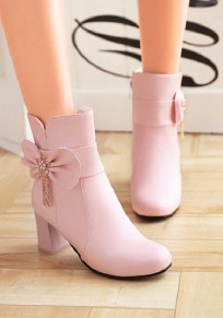 Pink Round Toe Chunky Bow Tassel Casual Ankle Boots