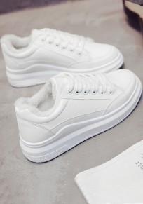 Weiße runde Zehe flache Spitze up Beiläufig Knöchel Schuhe
