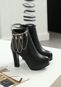 Black Round Toe Chunky Chain Fashion Ankle Boots