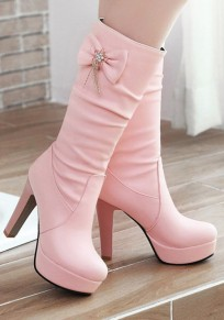Botines puntera redonda fornida moño rosa