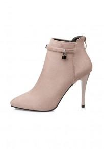Khaki Point Toe Stiletto Suede Fashion Ankle Boots