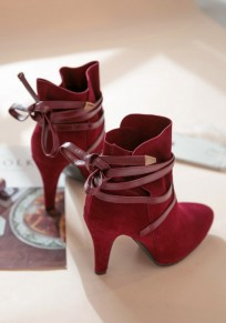 Red Point Toe Stiletto Cross Strap Fashion Ankle Boots