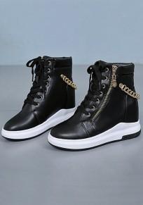 Schwarze runde zehe Art und WeiseKnöchel Schuhe