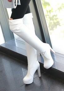 Botas punta redonda estilo aguja sobre la rodilla blanco