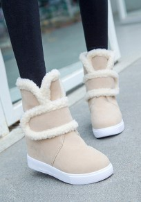 Beige Round Toe Within The Higher Casual Ankle Boots