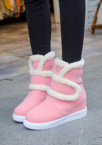 Pink Round Toe Within The Higher Casual Ankle Boots