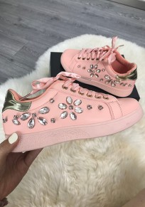 Chaussures bout rond mode strass cheville rose
