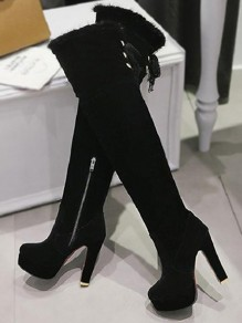 Black Round Toe Chunky Zipper Fashion Over-The-Knee Boots