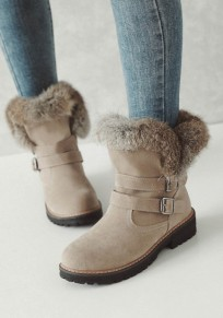 Beige Round Toe Chunky Double Buckle Fashion Ankle Boots