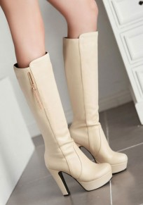 Beige Round Toe Chunky Metal Decoration Fashion Knee-High Boots