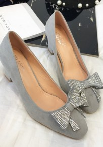 Chaussures bout rond trapu noeud papillon strass mode à talons hauts gris