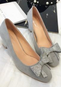 Graue Runde Zehe klobig Bogen Strass Mode Schuhe mit hohen Absätzen