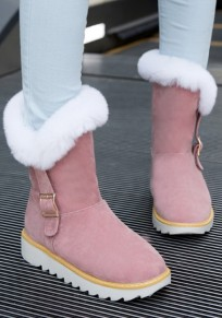 Pink Round Toe Flat Buckle Fashion Ankle Boots