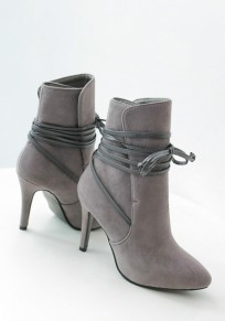 Grey Point Toe Stiletto Lace-up Fashion Ankle Boots