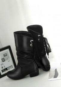 Schwarze runde Zehe klobig Spitze Mode Mid-Calf Stiefel