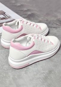 Scarpe allacciatura piatta allacciata caviglia casuale rosa