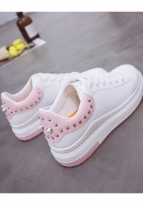Chaussures bout rond mode river plat cheville rose