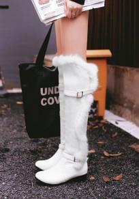 White Round Toe Chunky Fashion Knee-High Boots
