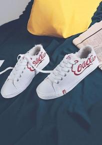 Chaussures bout rond impression de lettre occasionnel cheville blanc