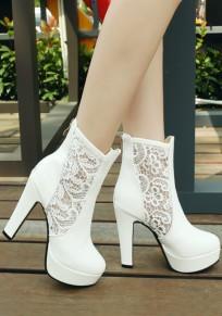 Weiße runde Zehe klobig Spitze Broschierung Mode Stiefeletten