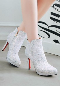White Point Toe Stiletto Sequin Fashion Ankle Boots