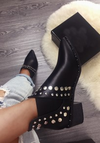 Black Round Toe Rivet Chunky Fashion Ankle Boots