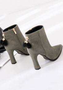 Grey Point Toe Chunky Zipper Fashion Ankle Boots