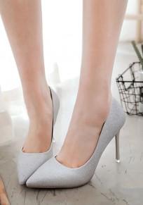 Chaussures bout pointu coiffert paillettes mode à talons hauts argent
