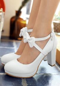 Weiß Runde Zehe Schleife Gürtel Blockabsatz Süße0 Hochhackige Party Schuhe High Heels Damen